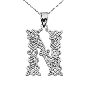 """N"" Initial In Celtic Knot Pattern Sterling Silver Pendant Necklace"