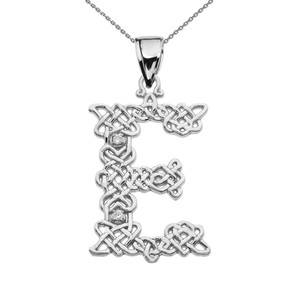 """E"" Initial In Celtic Knot Pattern White Gold Pendant Necklace With Diamond"