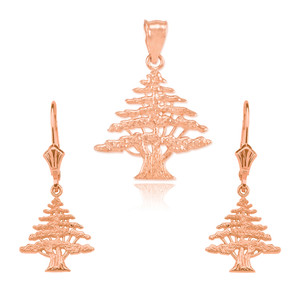 14K  Rose  Gold Lebanese Cedar Tree  Necklace Earring Set