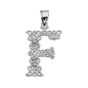 """""""F"""" Initial In Celtic Knot Pattern White Gold Pendant Necklace With Diamond"""