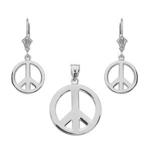 14K  White Gold Boho Peace Sign Necklace Earring Set