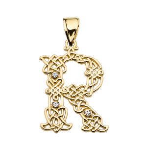 """R"" Initial In Celtic Knot Pattern Yellow Gold Pendant Necklace With Diamond"