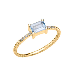 Yellow Gold Solitaire Emerald Cut Aquamarine and Diamond Rope Design Engagement/Promise Ring