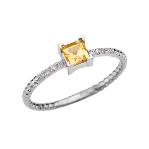 Dainty White Gold Solitaire Princess Cut Citrine and Diamond Rope Design Engagement/Promise Ring