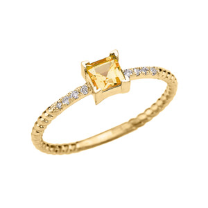 Dainty Yellow Gold Solitaire Princess Cut Citrine and Diamond Rope Design Engagement/Promise Ring