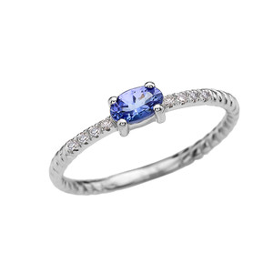 Diamond And Oval Tanzanite Rope Design White Gold Dainty Engagement/Proposal/Stackable Ring