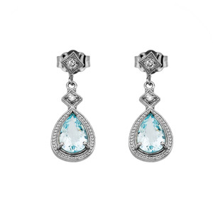 White Gold Aquamarine and Diamond Dangling Earrings