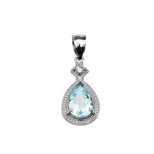 White Gold Aquamarine and Diamond Pendant Necklace