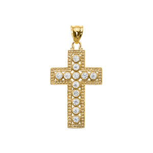 Yellow Gold Cross Pendant Necklace With Cubic Zirconia