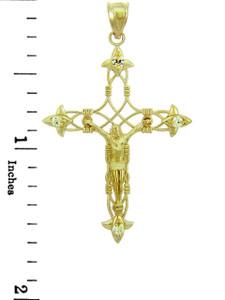 Yellow Gold Crucifix Pendant - The Fleur-de-Lis Crucifix