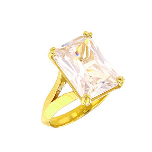 Yellow Gold Solitaire Emerald Cut Cubic Zirconia  Engagement Ring