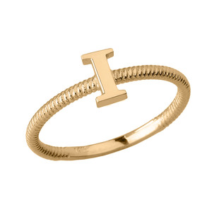 Solid Yellow Gold Alphabet Initial Letter I Stackable Ring