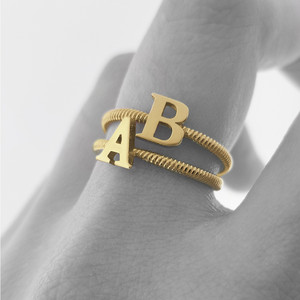 Solid Yellow Gold Alphabet Initial Letter L Stackable Ring