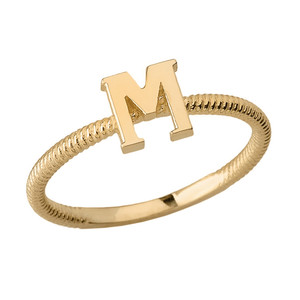 Solid Yellow Gold Alphabet Initial Letter M Stackable Ring