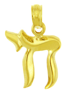 Jewish Charms and Pendants - Yellow Gold Chai Pendant( 0.5 Inch)