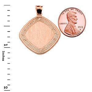 Greek Key Rose Gold Engravable Charm Pendant