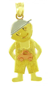 Tri Tone Gold Baby Boy Car Pendant