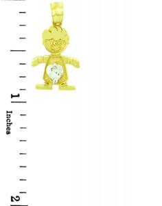 CZ Crystal Boy Yellow Gold Birthstone Charm