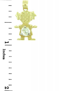 CZ Crystal Gem Girl Yellow Gold Birthstone Charm