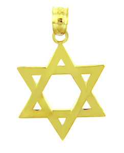 Jewish Charms and Pendants- Star of David Smooth Yellow Gold Pendant