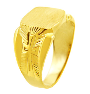 Men's Solid Gold Protector Signet Ring