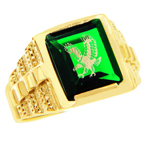 Men's Gold Rings - The Green Stone and Gold Eagle Ring