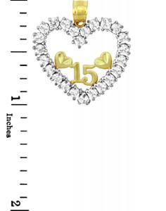 Sweet-15 Gold Quinceanera CZ Pendant