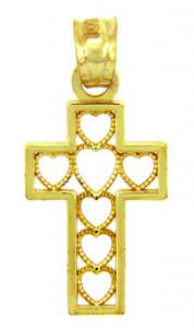 Gold Pendants - The Cross of Hearts Gold Pendant