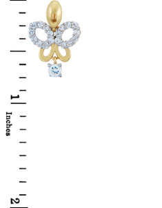 Gold Butterfly Charms and Pendants - Gold Butterfly Pendant with Cubic Zirconias