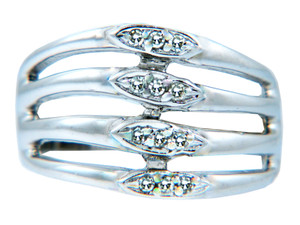 Ladies Four Band with 12 Diamonds Ring