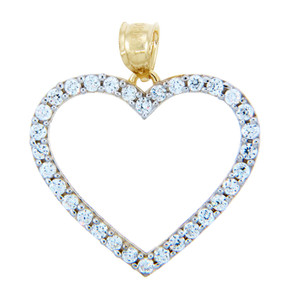 Gold Pendants - Cubic Zirconias Gold Heart Pendant