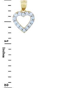 Gold Pendants - Classic Gold Heart Pendant with CZ Rim