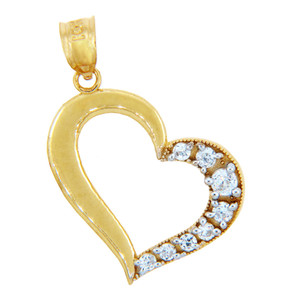 Gold Pendants - Gold Side to Side Heart Pendant