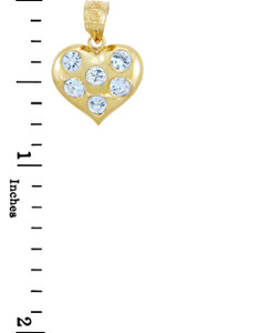 Gold Pendants - Gold Heart Pendant with Six Cubic Zirconias