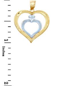 Gold Pendants - Two Tone Gold Double Hearts Pendant