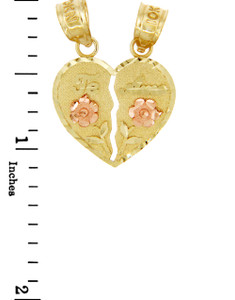 Gold Pendants - Two Tone Gold Te Amo Breakable Heart Pendant