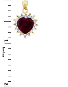 Love and Heart Gold Pendants - 10K Gold Heart Pendant with Cubic Zirconias