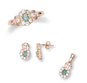 Gold Emerald Ladies Set