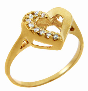 Ladies CZ Rings - Half and Half Cubic Zirconia Heart Ring in Solid Gold