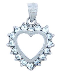 Elegant Heart Pendant in  Silver with Cubic Zirconias