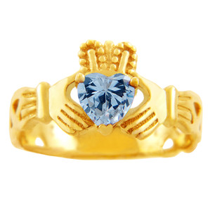 Claddagh Trinity Band Ring in Gold with Aquamarine Birthstone.  Available in 14k or 10k Gold.