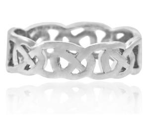 White Gold Celtic Quadrum Weave Men's Ring Band