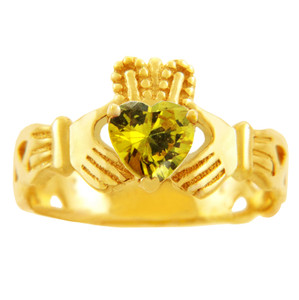 Claddagh Trinity Band Ring in Gold with Yellow Citrine Birthstone.  Available in 14k and 10k Gold.