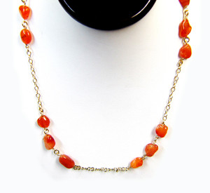 Gemstone Necklaces - Flaming Calcidone Nuggets Long Necklace in Sterling Silver 44  Inch