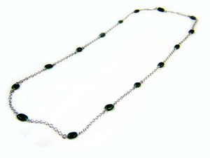 Gemstone Necklaces - Charisma Green Moon Stone Long Necklace in Sterling Silver 40 Inch