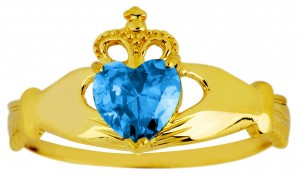 Blue topaz CZ birthstone Claddagh ring in 10k or 14k yellow gold.