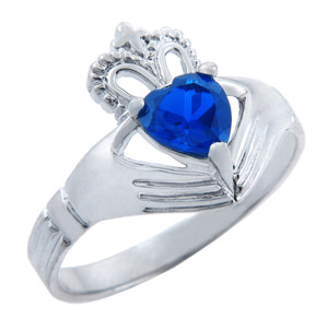 Silver Claddagh Ring with Saphire Birthstone.