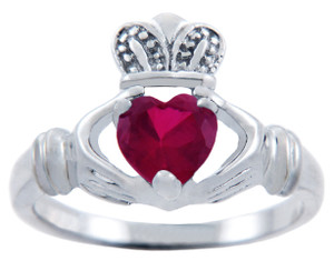 Silver Claddagh Ring with Ruby CZ Heart