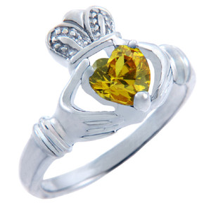 Silver Claddagh Ring with Citrine Yellow CZ Heart