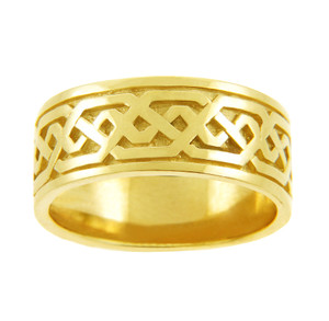 Yellow Gold Celtic Knot Wedding Ring Band.  Available in 14k and 10k Gold.